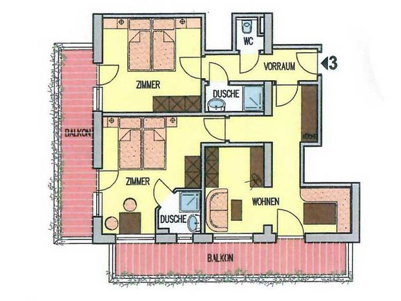 Grundriss Appartement 3 In Tirol